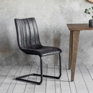 Uttlesford Furniture Padded Leather Grey Chair (Pair)