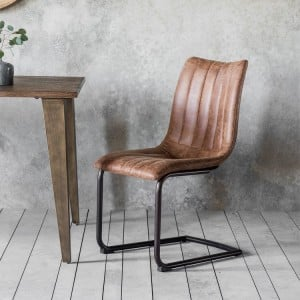 Uttlesford Furniture Padded Leather Brown Chair (Pair)