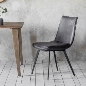 Broxbourne Furniture Padded Leather Grey Chair With Metal Legs (Pair)