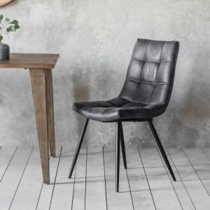 Bannockburn Furniture Padded Leather Grey Chair (Pair)
