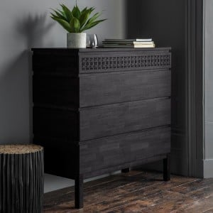Bournemouth Furniture Black 4 Drawer Chest