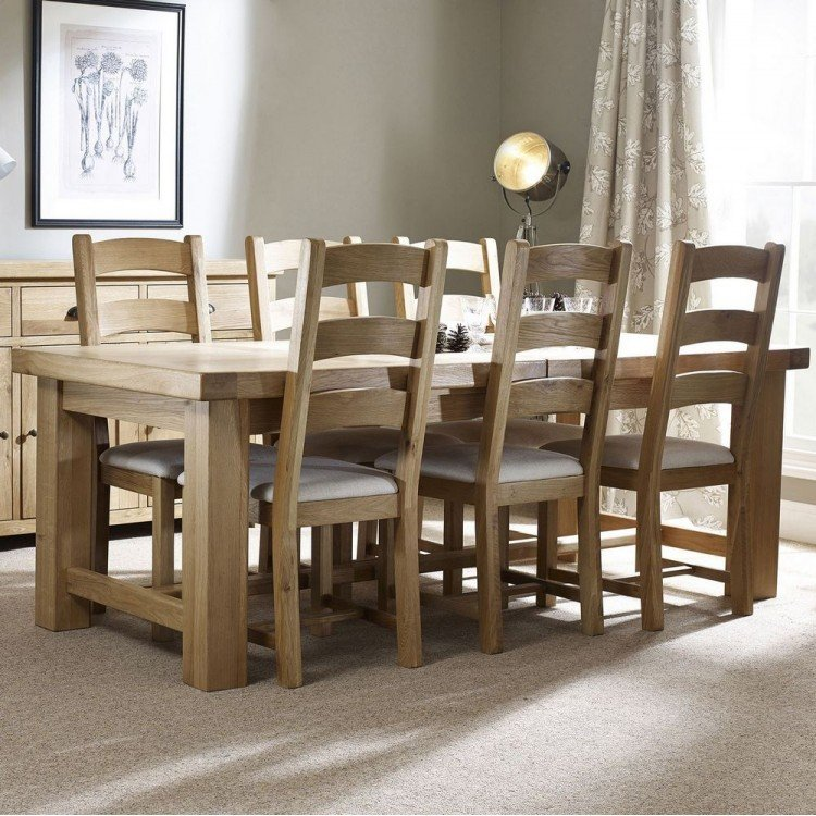 Corndell Fairford Oak Furniture Large Extending Dining Table and 6 Ladder Chairs