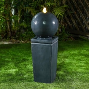 Nova Garden Furniture Salem Dark Grey Water Feature with 1 LED Light