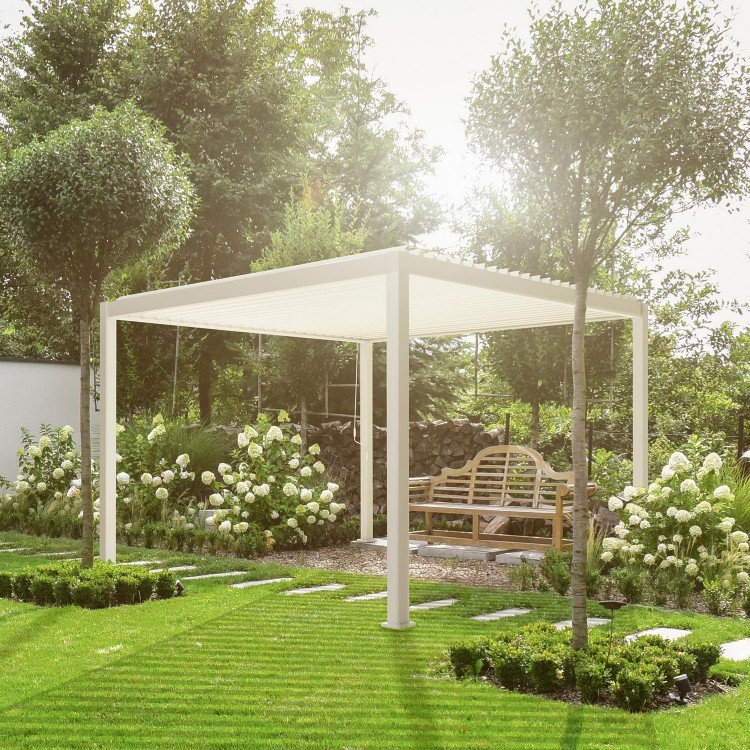 Nova Garden Furniture White 3.6m Square Aluminium Pergola