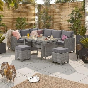 Nova Garden Furniture Ciara White Wash Rattan Left Hand Corner Dining Set with Extending Table