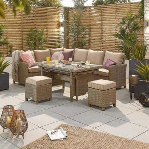 Nova Garden Furniture Ciara Willow Rattan Left Hand Corner Dining Set with Extending Table