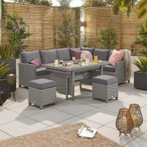 Nova Garden Furniture Ciara White Wash Rattan Right Hand Corner Dining Set with Extending Table