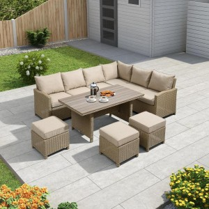 Nova Garden Furniture Ciara Willow Rattan Right Hand Corner Dining Set with Polywood Table