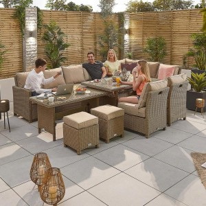Nova Garden Furniture Ciara Willow Rattan Right Hand Deluxe Corner Dining Set with Extending Table