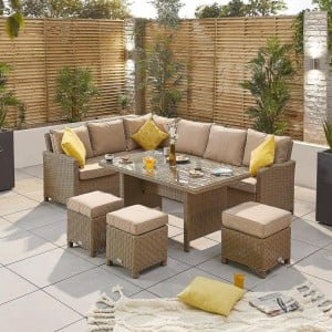 Nova Garden Furniture Ciara Willow Rattan Left Hand Corner Dining Set with Parasol Hole Table