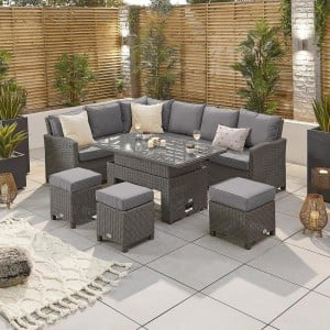 Nova Ciara Grey Rattan Left Hand Corner Dining Set with Rising Table