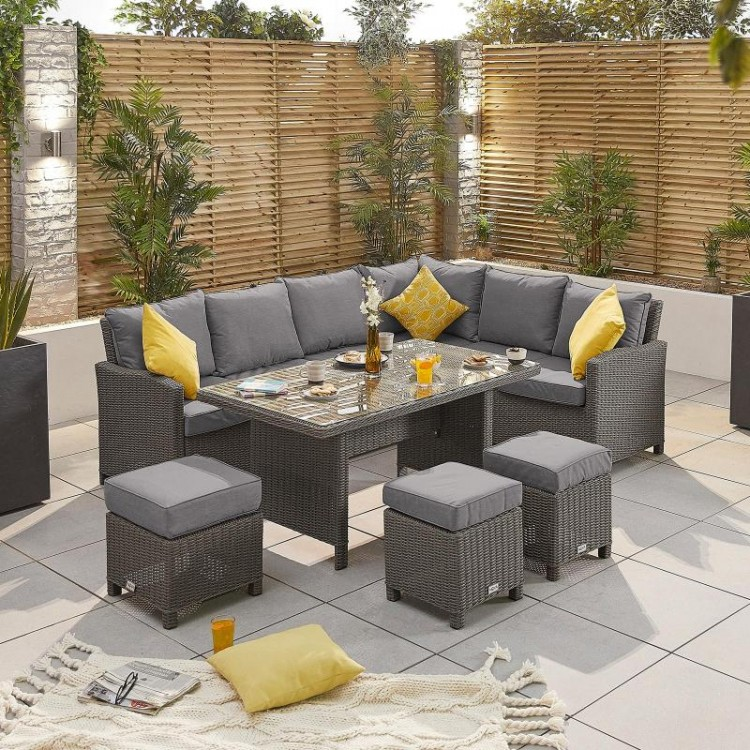 Nova Garden Furniture Ciara Slate Grey Rattan Right Hand Corner Dining Set with Parasol Hole Table - PRE ORDER