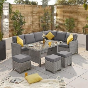 Nova Ciara White Wash Rattan Right Hand Corner Dining Set with Parasol Hole