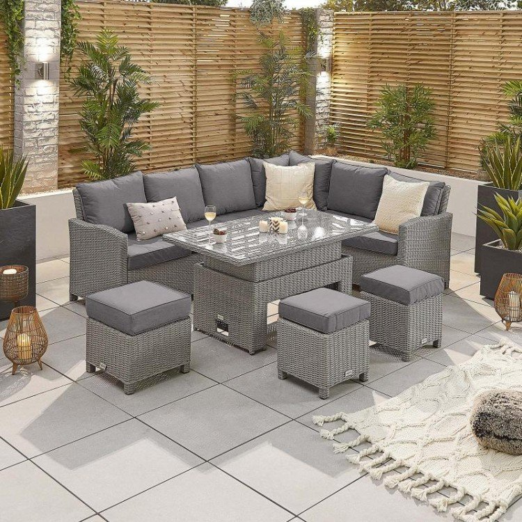 Nova Garden Furniture Ciara White Wash Rattan Right Hand Corner Dining Set with Rising Table