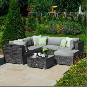 Nova Garden Furniture Chelsea Grey Rattan Corner Sofa Set with Coffee Table