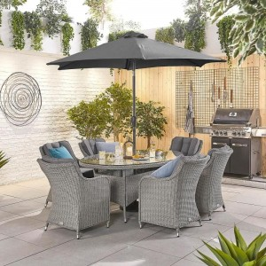 Nova Garden Furniture Camilla White Wash Rattan 6 Seat Oval Dining Set
