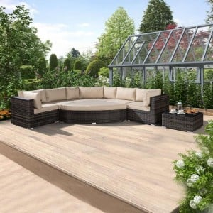 Nova Garden Furniture Hampton Brown Rattan Deluxe Corner Sofa Set with Coffee Table