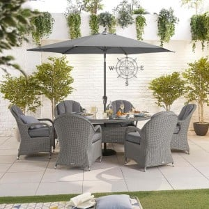 Nova Garden Furniture Leeanna Slate Grey Rattan 6 Seat Oval Dining Set