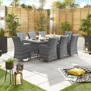 Nova Garden Furniture Sienna Grey Rattan 8 Seat Rectangular Dining Set