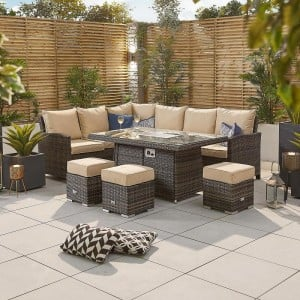 Nova Garden Furniture Cambridge Brown Rattan Left Hand Corner Dining Set with Fire Pit Table