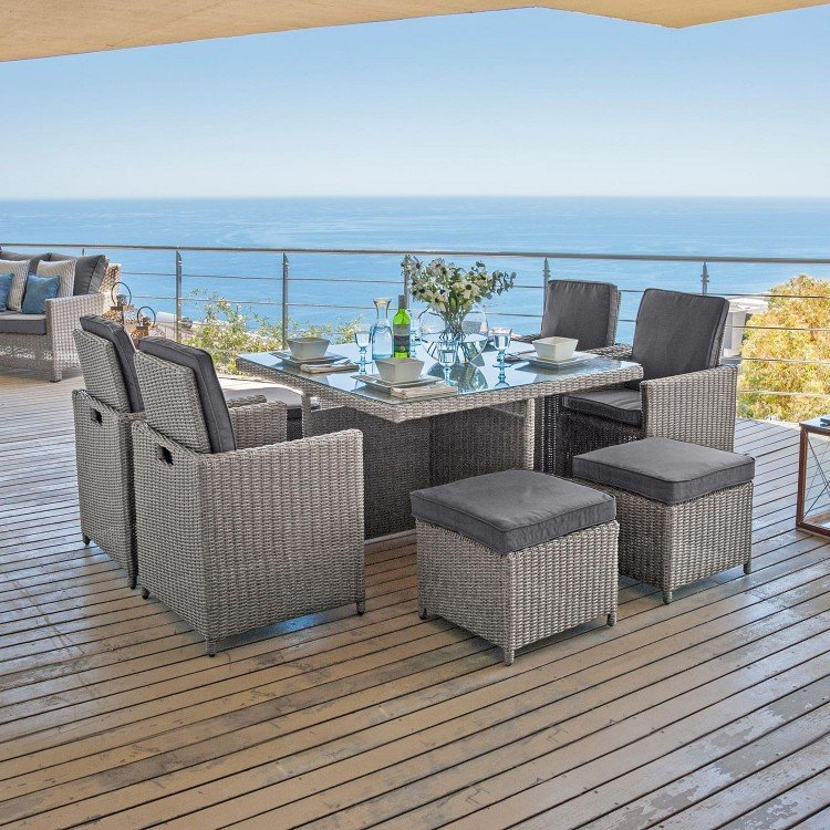 Nova Garden Furniture Catherine White Wash Rattan 4 Seat Square Cube Dining Set with Footstools