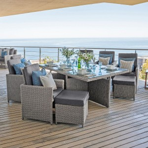 Nova Garden Furniture Catherine White Wash Rattan 6 Seat Rectangular Cube Dining Set with Footstools