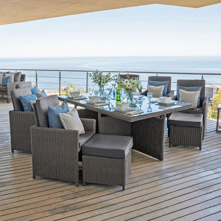 Nova Garden Furniture Catherine Slate Grey Rattan 6 Seat Rectangular Cube Dining Set with Footstools