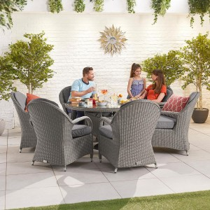 Nova Garden Furniture Leeanna Slate Grey Rattan 6 Seat Round Dining Set