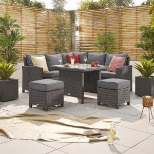 Nova Garden Furniture Ciara Slate Grey Rattan Compact Corner Dining Set with Parasol Hole Table