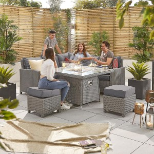 Nova Garden Furniture Ciara White Wash Rattan Compact Corner Dining Set with Fire Pit Table