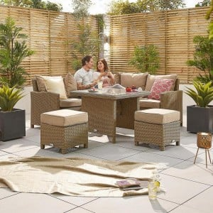 Nova Garden Furniture Ciara Willow Rattan Compact Corner Dining Set with Parasol Hole Table