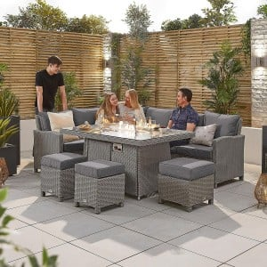 Nova Garden Furniture Ciara White Wash Rattan Left Hand Corner Dining Set with Fire Pit Table