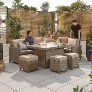 Nova Garden Furniture Ciara Willow Rattan Right Hand Corner Dining Set with Fire Pit Table