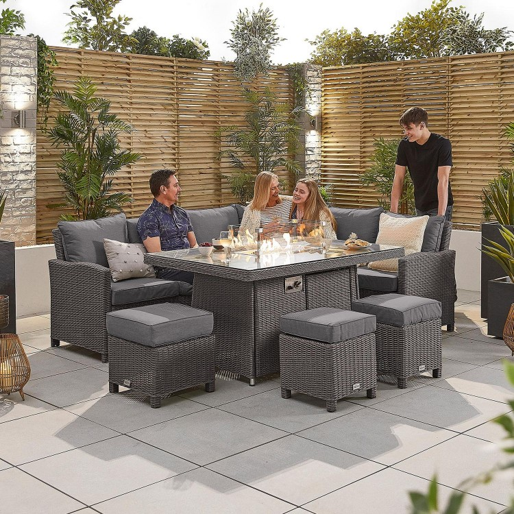 Nova Garden Furniture Ciara Slate Grey Rattan Right Hand Corner Dining Set with Fire Pit Table