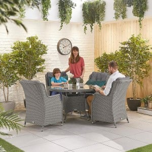 Nova Garden Furniture Thalia Slate Grey Rattan 4 Seat Round Dining Set