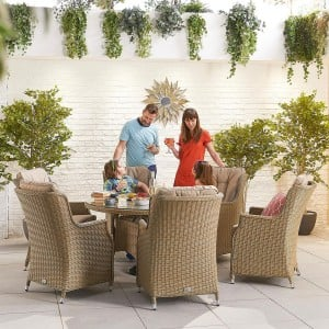 Nova Garden Furniture Thalia Willow Rattan 6 Seat Round Dining Set