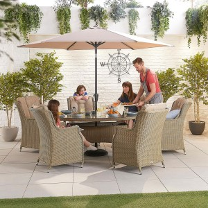 Nova Garden Furniture Thalia Willow Rattan 6 Seat Oval Dining Set