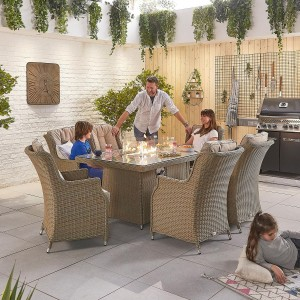 Nova Garden Furniture Thalia Willow Rattan 6 Seat Rectangular Dining Set with Fire Pit Table