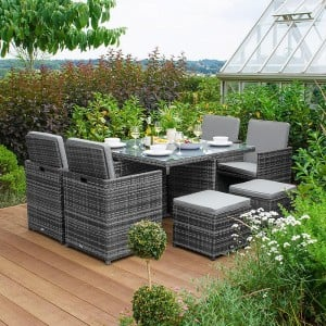Nova Garden Furniture Celia Grey Rattan 4 Seat Cube Dining Set with Footstools