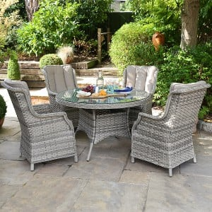 Nova Garden Furniture Oyster 4 Seat Round Dining Set