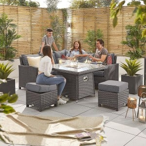 Nova Garden Furniture Ciara Slate Grey Rattan Compact Corner Dining Set with Fire Pit Table