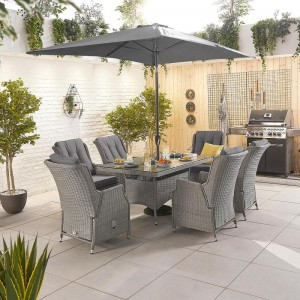 Nova Garden Furniture Carolina White Wash Rattan 6 Seat Rectangular Dining Set