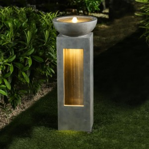 Nova Garden Furniture Amity Light Grey Water Feature with 2 LED Lights