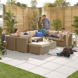 Nova Garden Furniture Chelsea Willow Rattan 2A Corner Sofa Set with Coffee Table