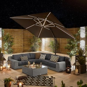 Nova Garden Furniture Galaxy Grey 3m Square LED Cantilever Parasol