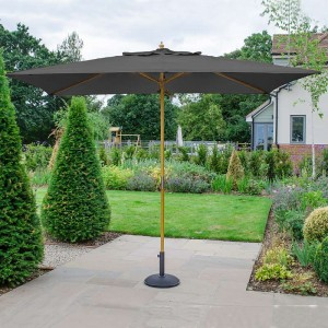 Nova Garden Furniture Dominica Grey 3m x 2m Rectangular Wooden Parasol