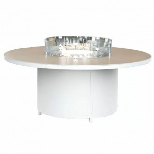 Nova Garden Furniture White Frame Aluminium 8 Seater Round Dining Table with Firepit