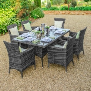 Nova Garden Furniture Amelia Grey Weave 6 Seat Rectangular Dining Set