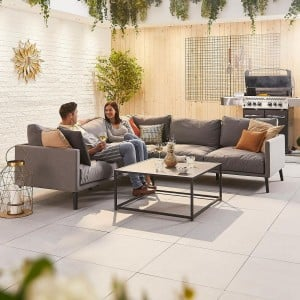 Nova Outdoor Fabric Flanelle Bliss Corner Sofa Set with Coffee Table