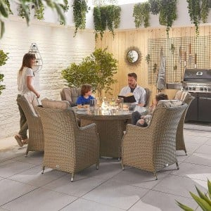 Nova Garden Furniture Thalia Willow Rattan 6 Seat Round Dining Set with Fire Pit Table